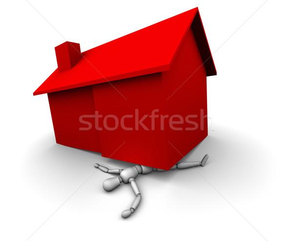 Pessoa vermelho casa alto ilustração 3d Foto stock © eyeidea