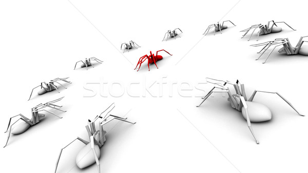 Spiders Circling the Red Spider Stock photo © eyeidea