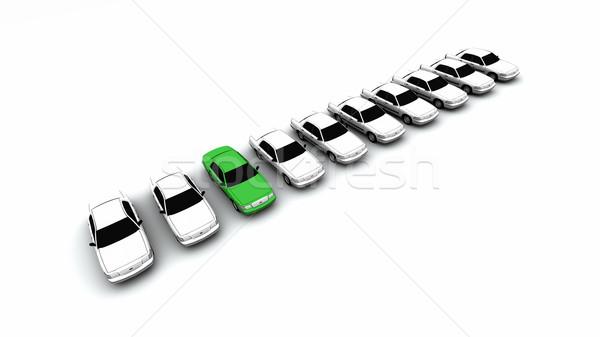 Stock photo: Ten Cars, One Green!
