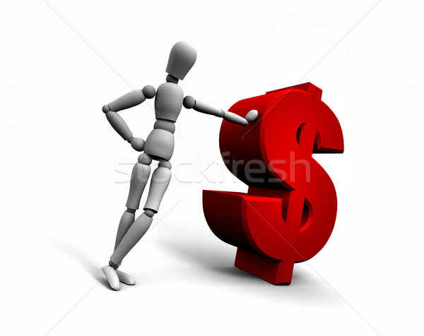 Stockfoto: Persoon · Rood · dollar · symbool · 3d · render