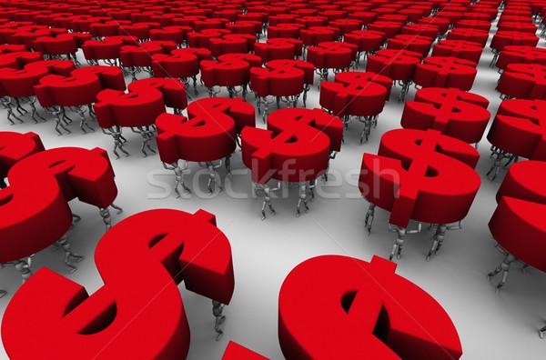 Mensen dollar symbolen 3D Rood Stockfoto © eyeidea