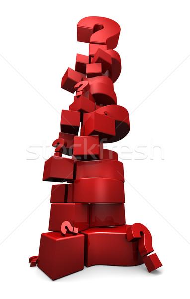 Pontos de interrogação para cima 3d render vermelho alto Foto stock © eyeidea