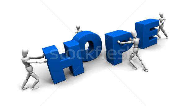 Foto stock: Equipe · pessoas · empurrando · esperança · juntos · 3D