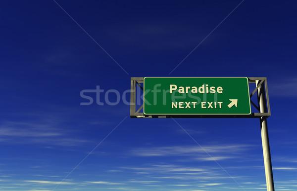 édenkert autóút kijárat jelzés szuper magas döntés Stock fotó © eyeidea