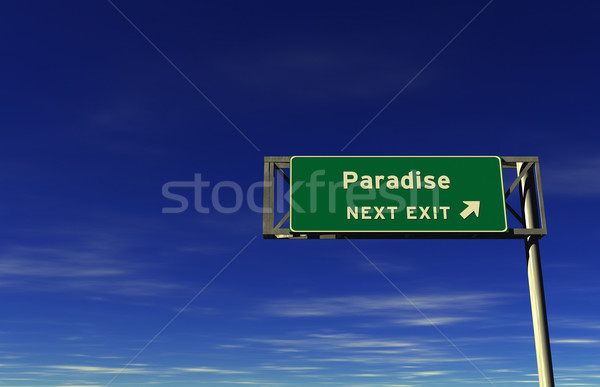 Paradies Autobahn exit sign Super groß Auflösung Stock foto © eyeidea