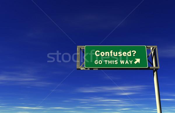 Confuso auto-estrada sinal de saída super alto Foto stock © eyeidea