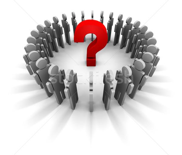 Pessoas círculo vermelho ponto de interrogação centro ilustração 3d Foto stock © eyeidea