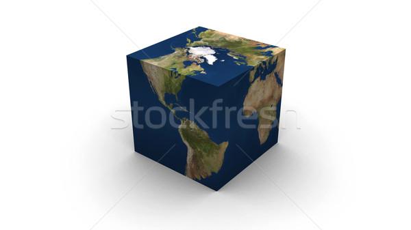 Aarde kubus hoog 3d render kaarten Stockfoto © eyeidea