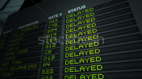 Airport Flight Information Board, Delayed Stock photo © eyeidea