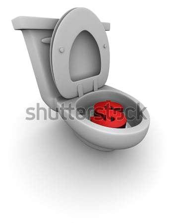 Para aşağı boşaltmak 3d render kırmızı dolar Stok fotoğraf © eyeidea