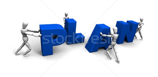 Equipe pessoas empurrando plano juntos 3D Foto stock © eyeidea