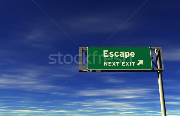 Menekülés autóút kijárat jelzés szuper magas döntés Stock fotó © eyeidea