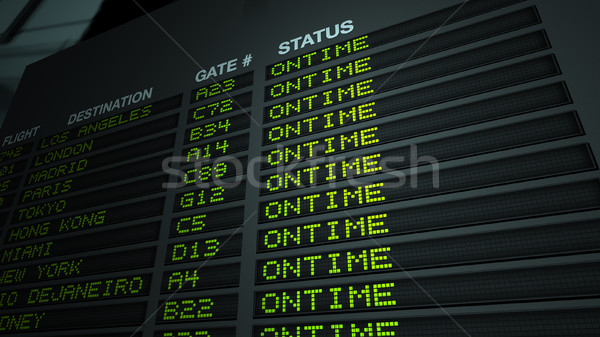 Flight Information Board, On Time Stock photo © eyeidea