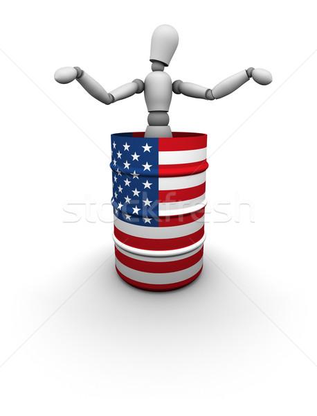 Homem em pé Óleo barril EUA bandeira Foto stock © eyeidea