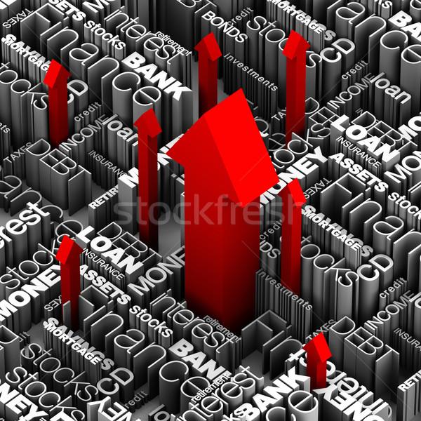 Pénzügyi szavak piros nyilak felfelé néhány Stock fotó © eyeidea