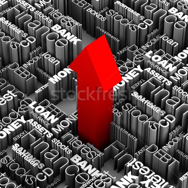 Financeiro palavras vermelho seta para cima 3D Foto stock © eyeidea