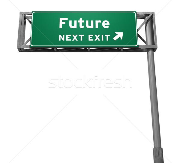 Jövő autóút kijárat jelzés Stock fotó © eyeidea