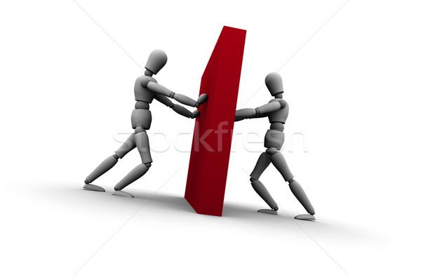 Duas pessoas empurrando parede ilustração dois 3D Foto stock © eyeidea