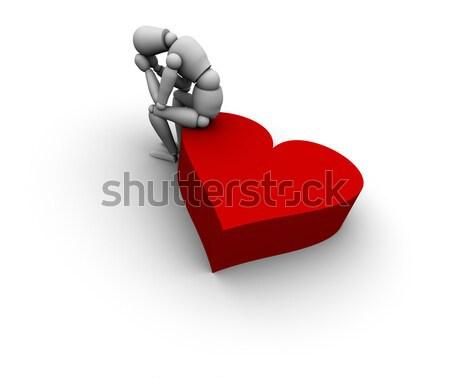 Triste pessoa sessão coração ícone 3D Foto stock © eyeidea