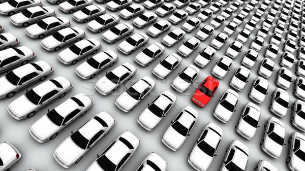 Hundreds of Cars, One Red! Stock photo © eyeidea