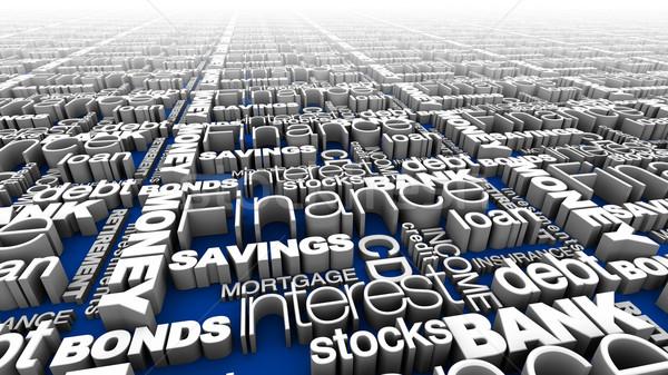 Financeiro palavras azul alto ilustração 3d Foto stock © eyeidea