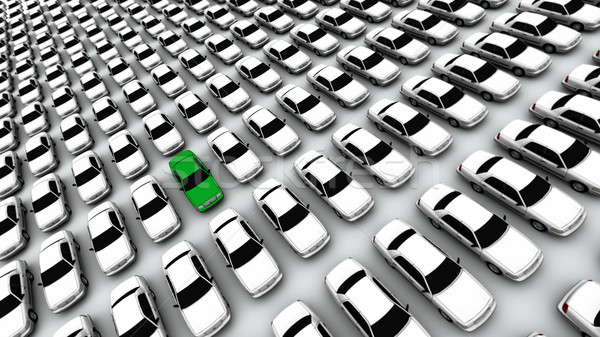 Hundreds of Cars, One Green! Stock photo © eyeidea