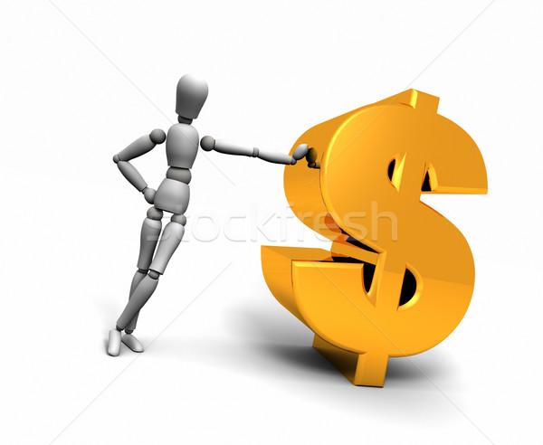 Homem ouro dólar símbolo 3d render Foto stock © eyeidea