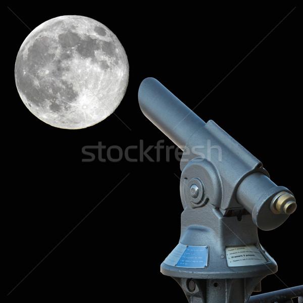 Bakıyor ay eski moda teleskop dolunay gökyüzü Stok fotoğraf © faabi
