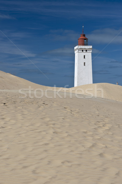 Világítótorony homokdűne tenger utazás biztonság part Stock fotó © faabi