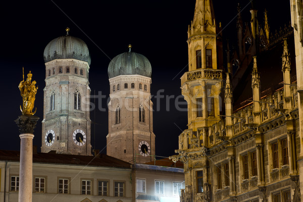 Torres Munique noite dois torre catedral Foto stock © faabi