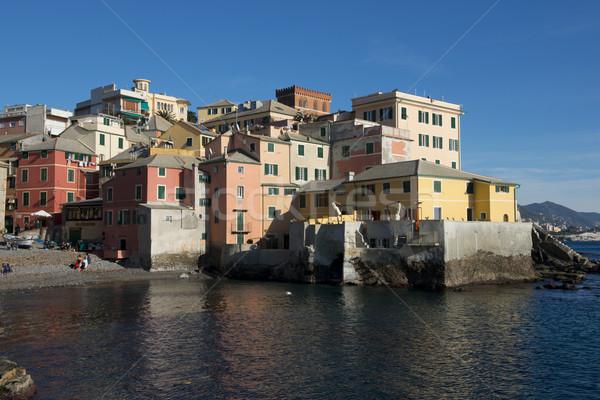 Halászat falu központ Olaszország színes házak Stock fotó © faabi