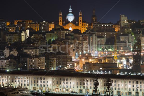 Városkép kilátás kikötő megvilágított templom városi Stock fotó © faabi