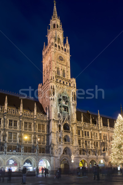 The New Town Hall of Munich by night Stock photo © faabi