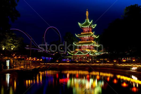 Pagoda park Kopenhag Bina Stok fotoğraf © faabi