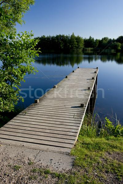 Pier lagoa calma azul Dinamarca Foto stock © faabi