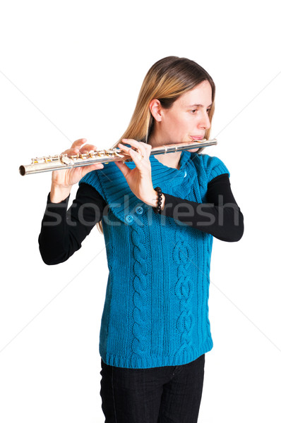Woman playing transverse flute Stock photo © fahrner