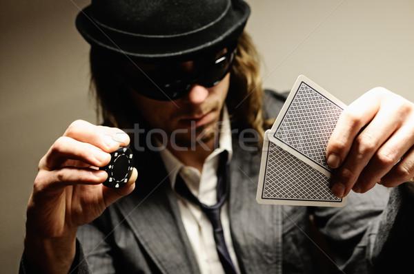 Poker oyun adam şapka gözlük oynama Stok fotoğraf © fahrner