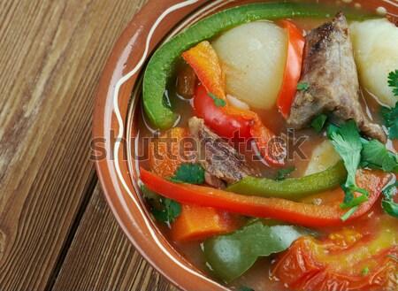 Pita szendvics hús paradicsomszósz zöld vacsora Stock fotó © fanfo