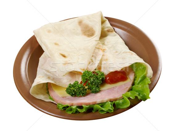 ピタ麻 サンドイッチ トマト 緑 ディナー 肉 ストックフォト © fanfo