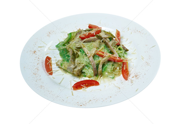 fettuccine with zucchini and beef Stock photo © fanfo