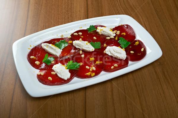 Cékla birka sajt közelkép piros tányér Stock fotó © fanfo