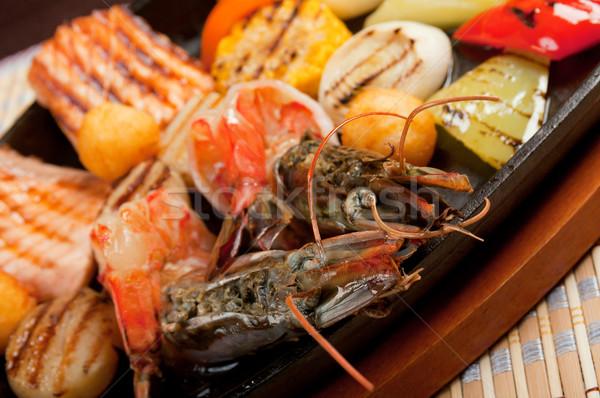 Zöldség étel hal étterem szakács edény Stock fotó © fanfo