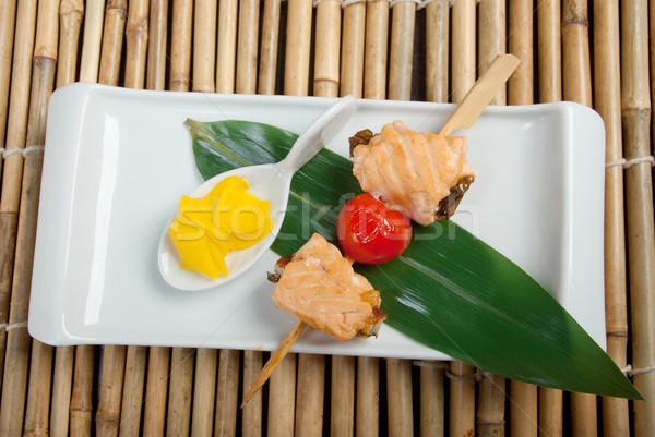 Japanese skewered  salmon Stock photo © fanfo
