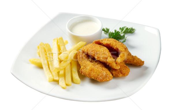 Stock fotó: Sültkrumpli · tyúk · piros · hús · gyors · étel