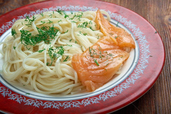 Pasta vermicelli with salmon Stock photo © fanfo