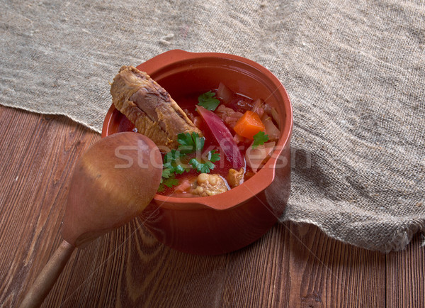 Eastern European beet soup Stock photo © fanfo