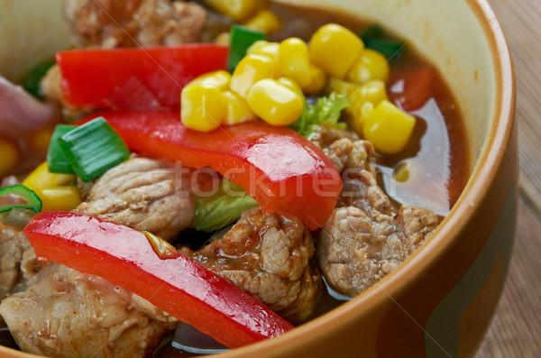 Dumanlı güney sınır çorba stil akşam yemeği Stok fotoğraf © fanfo