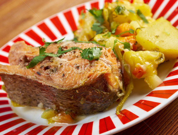 Baked trout with potatoes Stock photo © fanfo