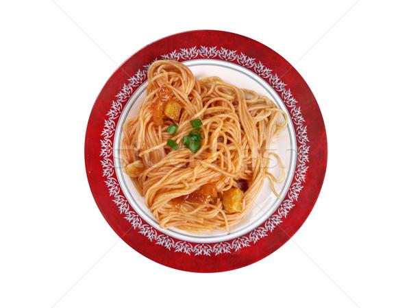 Stockfoto: Pasta · gekookt · geserveerd · saus · wijn