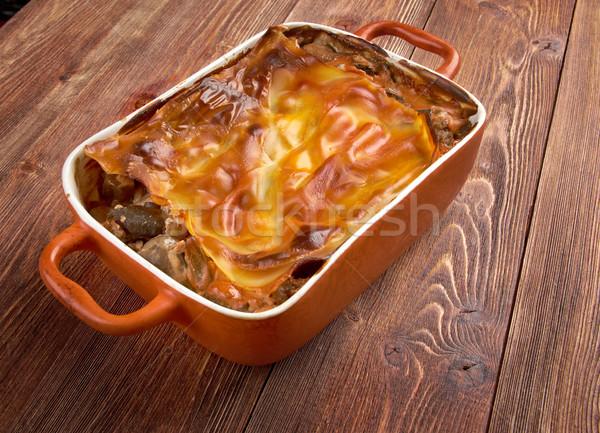 ラザニア キノコ 牛肉 アップ プレート ランチ ストックフォト © fanfo